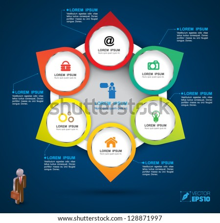 Vector circle group business concepts with  icons / can use for info-graphic / loop business report or plan / modern template / education template / business brochure /  system diagram - stock vector