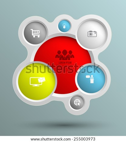 Vector circle group with icons for business concepts, info-graphic, modern banner template, education chart, business brochure, system diagram, and printing  ad. - stock vector
