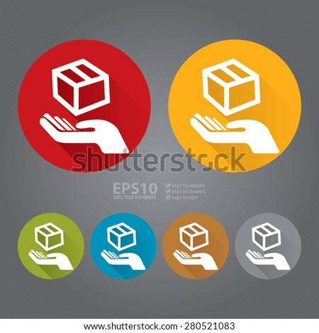 Vector : Circle Hand With Box, Handle With Care, Do Not Drop Flat Long Shadow Style Icon, Label, Sticker, Sign or Banner - stock vector