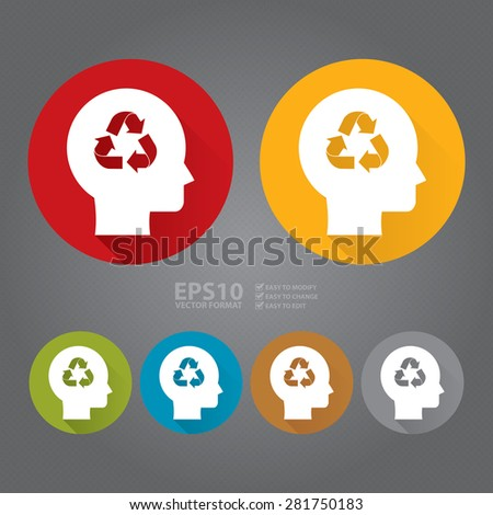 Vector : Circle Head With Recycle Arrow Flat Long Shadow Style Icon, Label, Sticker, Sign or Banner - stock vector