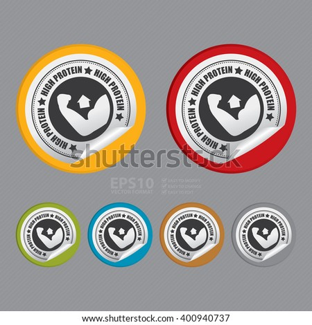 Vector : Circle High Protein Product Label Infographics Flat Icon, Peeling Sticker, Sign - stock vector