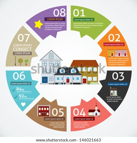 Vector circle house concepts with icons infographics  - stock vector