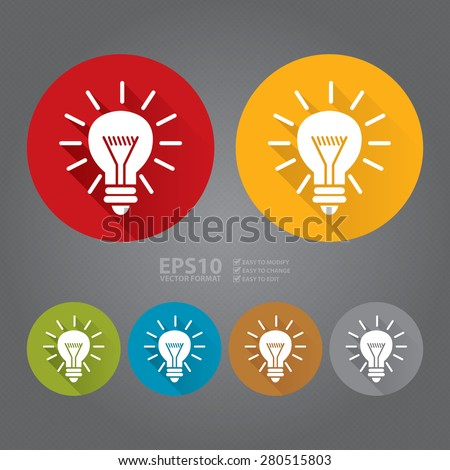 Vector : Circle Idea or Light Bulb Long Shadow Style Icon, Label, Sticker, Sign or Banner - stock vector