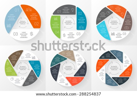Vector circle infographic. Template for cycle diagram, graph, presentation and round chart. Business concept with 3, 4, 5, 6, 7, 8 options, parts, steps. Linear info graphic. Data visualization. - stock vector