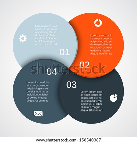 Vector circle infographic. Template for diagram, graph, presentation and chart. Business concept with four options, parts, steps or processes. Abstract background. - stock vector