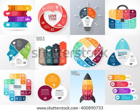 Vector circle infographics set. Business diagram, arrows graph, startup logo presentation, idea chart. Infographic option, 3, 4, 5, 6, 8 part, step, process. Heart, bulb, head, rocket, medical plus. - stock vector