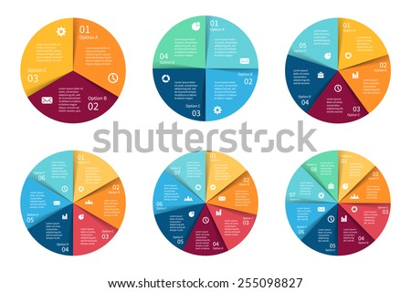 Vector circle infographics set. Template for cycle diagram, graph, presentation and round chart. Business concept with 3, 4, 5, 6, 7, 8 options, parts, steps or processes. Abstract background. - stock vector