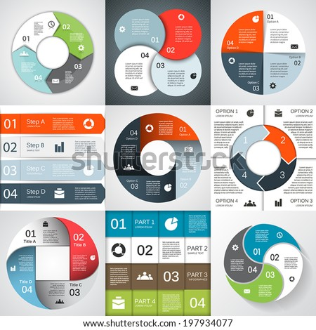 Vector circle infographics set. Template for diagram, graph, presentation and chart. Business concept with four options, parts, steps or processes. Abstract background. - stock vector