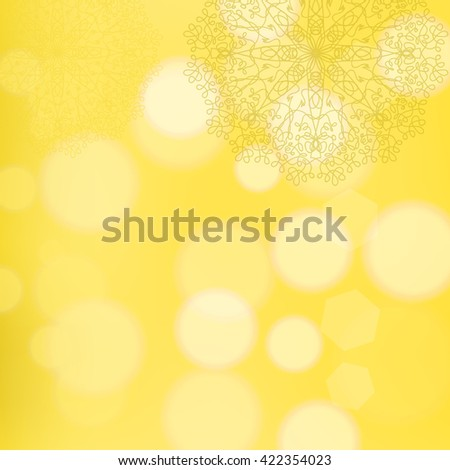 Vector Circle Lace Ornament, Round Ornamental Geometric Doily Pattern, Christmas Snowflake Decoration on Blurred Background - stock vector