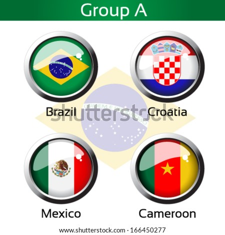 Vector circle metalic flags - football Brazil, group A - Brazil, Croatia, Mexico, Cameroon - drawing including all details - stock vector