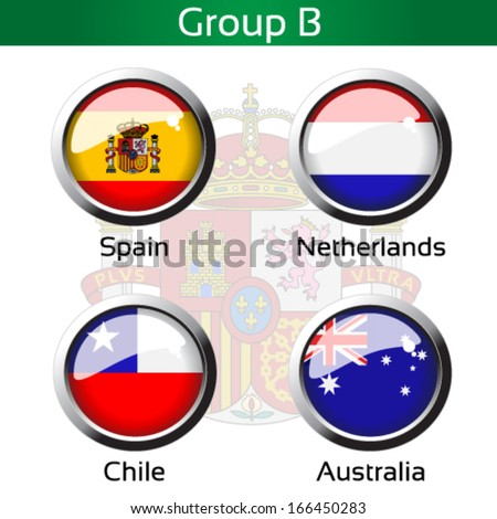 Vector circle metalic flags - football Brazil, group B - Spain, Netherlands, Chile, Australia - drawing including all details - stock vector