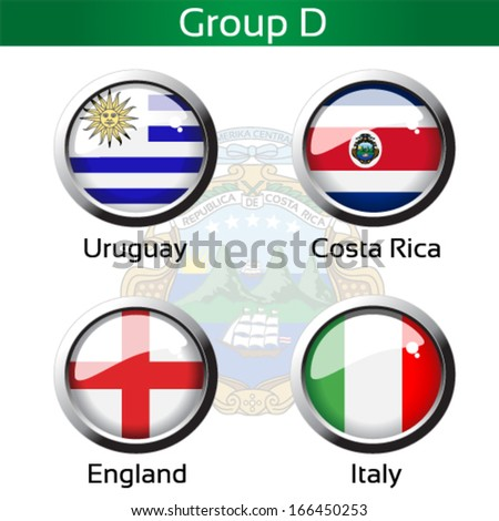 Vector circle metalic flags - football Brazil, group D - Uruguay, Costa Rica, England, Italy - drawing including all details - stock vector