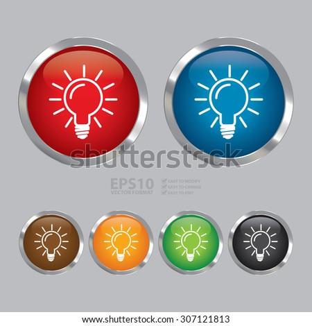 Vector : Circle Metallic Idea or Light Bulb Infographics Icon, Sign or Symbol  - stock vector