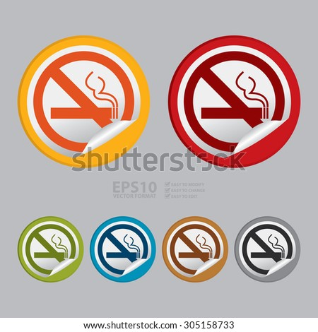 Vector : Circle No Smoking Prohibited Sign Infographics , Sticker, Icon or Label - stock vector