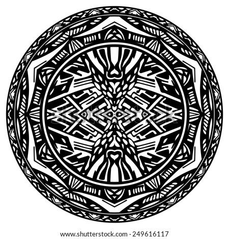 Vector circle reminiscent of the Aztec calendar - stock vector