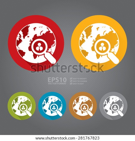 Vector : Circle Search People, Earth With People in Magnifying Glass Flat Long Shadow Style Icon, Label, Sticker, Sign or Banner - stock vector