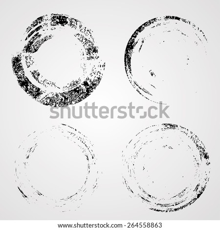 Vector Circle Shape . Circle Stamp . Round Brush Stroke . Coffee Stain Ring Vector.  - stock vector