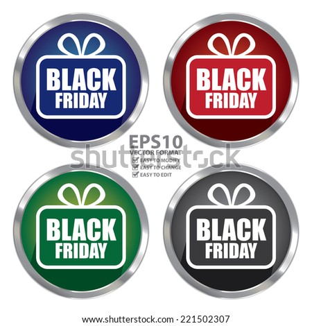 Vector : Circle Shape Metallic Style Black Friday Icon, Button or Label Isolated on White Background  - stock vector