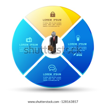Vector circle system business concepts with human icons / can use for infographic/loop business report or plan / modern template / education template / business brochure - stock vector