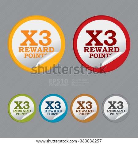 Vector : Circle X3 Reward Points, Campaign, Promotion , Product Label, Infographics Flat Icon, Peeling Sticker, Sign - stock vector