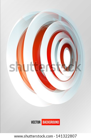 Vector circles abstract logo. Red and white sign - stock vector