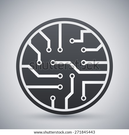 Vector circuit board icon - stock vector