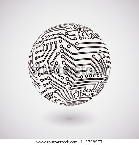 vector circuit board sphere - stock vector