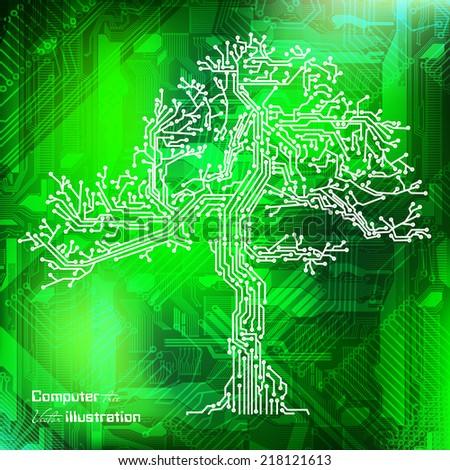 Vector circuit board tree eps 10 - stock vector