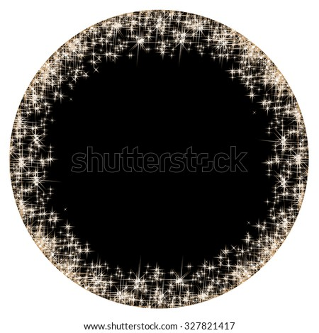 Vector circular frame with golden stars on the black background, sparkles golden symbols  - star glitter, stellar flare  - stock vector