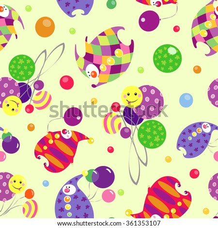 Vector circus pattern with colorful clowns and balloons on light yellow background. Seamless pattern can be used for wallpaper, pattern fills, web page background,surface textures. - stock vector