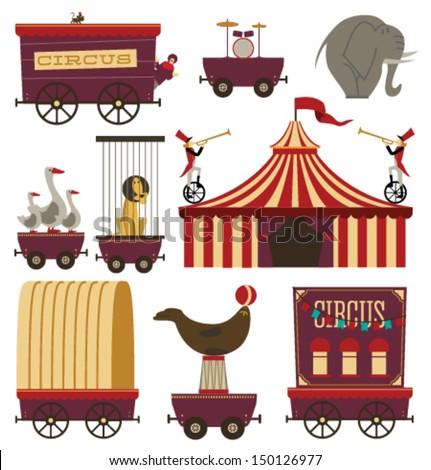 Vector Circus Train Elements Set #2 - stock vector
