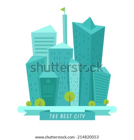 Vector city background in flat style isolated on white. City logo concept.  - stock vector