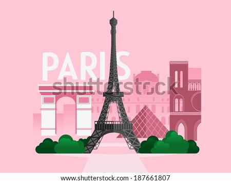 Vector city background. Paris - stock vector