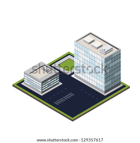 Vector city block on a white background - stock vector