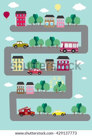 vector city. cars on the road - stock vector