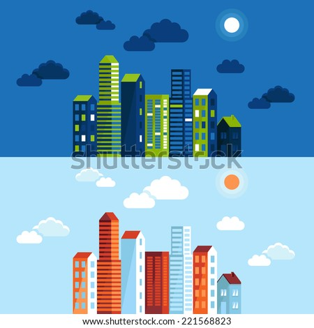 Vector city illustration in flat simple style - houses and buildings on horizontal banners - website headers - towns in different time of day - stock vector