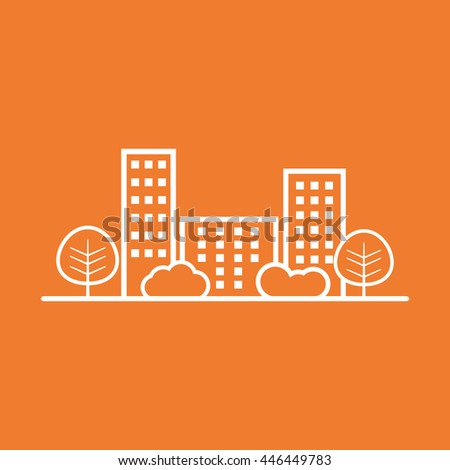 Vector city illustration in flat style. Building, tree and shrub on orange background - stock vector