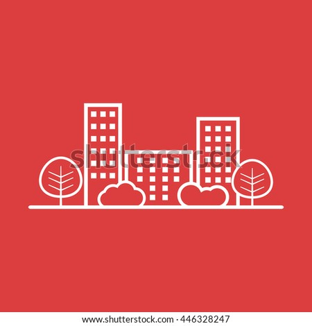 Vector city illustration in flat style. Building, tree and shrub on red background - stock vector