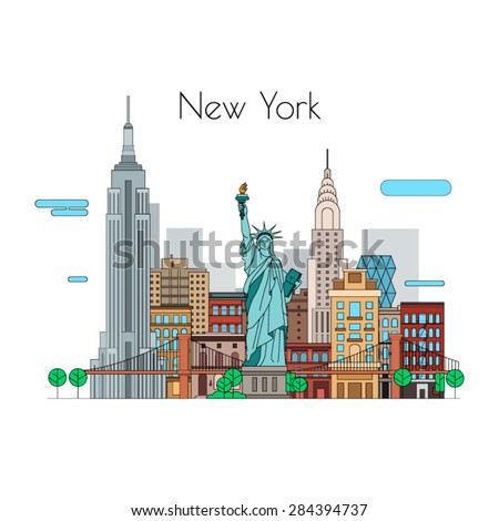 Vector city. Illustrations to travel. New York linear icons - stock vector