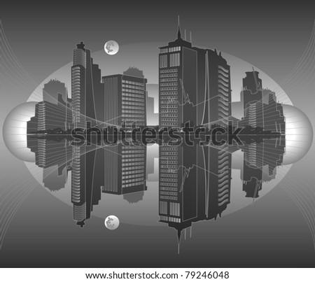 Vector city in gray tones - stock vector