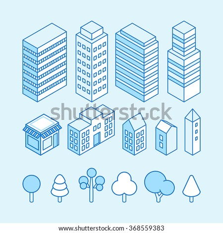 Vector city landscape isometric illustration and icons set - map design elements - stock vector