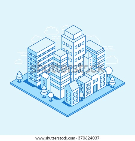 Vector city landscape isometric illustration - business concept and banner in trendy linear style  on blue background - stock vector
