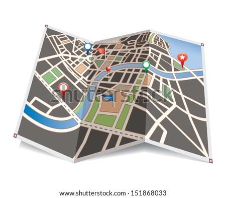 Vector city map. - stock vector