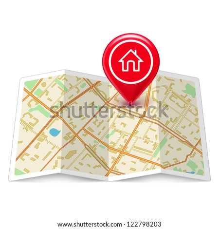 Vector City map with label home pin isolated on white - stock vector