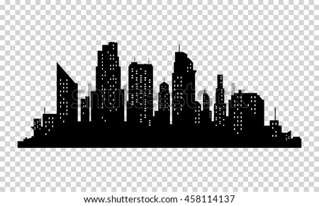 Vector city silhouette with windows. Vector Illustration - stock vector