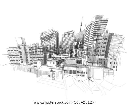 Vector City Sketching. - stock vector
