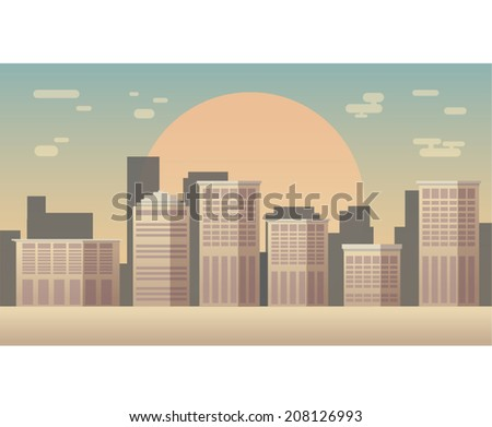 Vector city skyline silhouette - stock vector