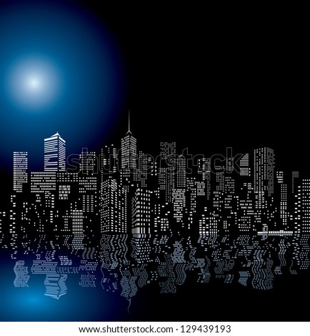 vector city skylines with reflection in water - stock vector