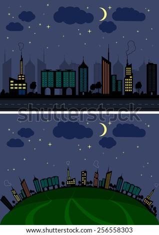 Vector city starry moonlit night  - stock vector