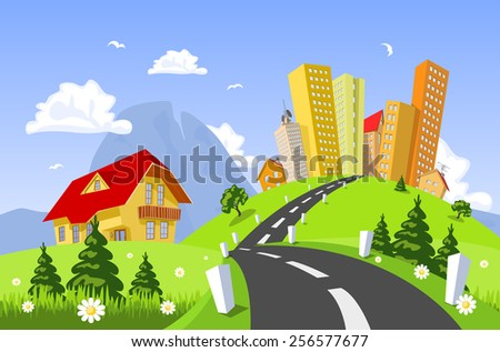 Vector city surrounded by nature landscape - stock vector